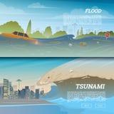 Tsunami op tropisch strand Grote golven en oceaanoppervlakte Landschapsvloed en Ramp Stad op kust De vakantie van de zomer vector illustratie