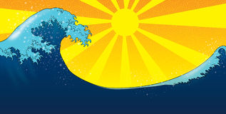 Tsunami over the sun. An illustration of a tsunami with the sun in the background Stock Photos