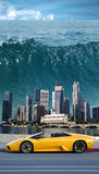 Tsunami in the Pacific. Giant tsunami in the Pacific (design stock photography