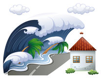 Tsunami scene with big waves and house Royalty Free Stock Photo
