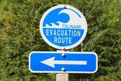 Tsunami Sign. Tsunami Evacuation Route road sign with arrow -- Harbor Wave Stock Photo