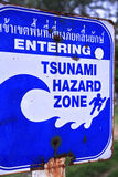 Tsunami. A sign with information about a possible . The evacuation routes in case of . Information plate on the ocean. Dangerous natural phenomena. The Stock Photos