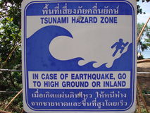 Tsunami sign. In Ko Lanta, Thailand. South Thailand Royalty Free Stock Image