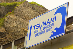 Tsunami sign in Lima. Tsunami sign in Spanish in Miraflores, Lima royalty free stock photos