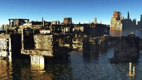 Tsunami skövlad stad arkivfoton