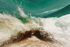 Tsunami , stormy waves. The high terrible ocean storm waves reached coast Stock Photo