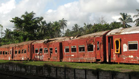 Tsunami train. This train rolled over several times after second tsunami wave in Hikkaduva, Sri Lanka Royalty Free Stock Image