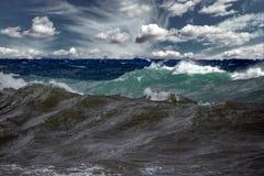 Tsunami tropical hurricane on the sea. Big waves stock photography