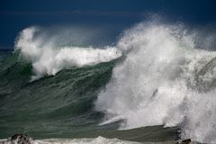Tsunami tropical hurricane on the sea. Big waves stock images