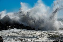 Tsunami tropical hurricane on the sea. Big waves royalty free stock photos