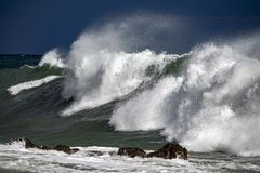 Tsunami tropical hurricane on the sea. Big waves Stock Image