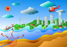 Tsunami, Vector illustration. A tsunami or tidal wave, also known as a seismic sea wave,Vector illustration for graphic or website layout Stock Image