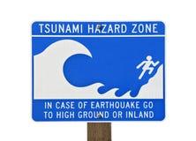 Tsunami-warnendes Zonen-Zeichen Stockfoto