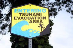 Tsunami Warning. Entering tsunami evacuation area--signage found in Hawaii stock images