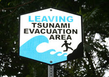 Tsunami-WARNING stockbilder