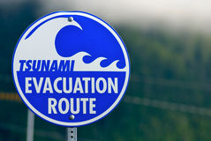 Tsunami Warning Evacuation Sign. Sign depicting tsunami evacuation route Royalty Free Stock Photo