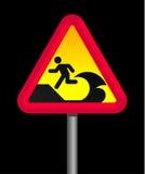 Tsunami warning sign. Isolated on black background Stock Photography