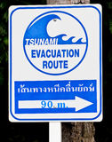 A tsunami warning sign Stock Photography