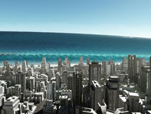 Tsunami wave coming to city Royalty Free Stock Image