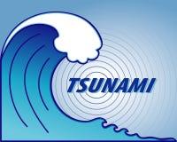 Tsunami Wave, Earthquake Epicenter. Giant tsunami wave crest, ocean earthquake epicenter. EPS8 compatible Royalty Free Stock Image