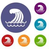 Tsunami wave icons set Royalty Free Stock Photography