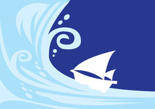Tsunami wave with sailing boat Stock Images