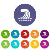 Tsunami wave set icons Stock Photo
