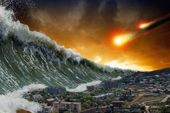 Tsunami waves, asteroid impact. Apocalyptic dramatic background - giant tsunami waves crashing small coastal town, asteroid impact, end of world