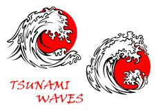 Tsunami waves with red sun behind Stock Image
