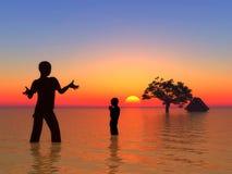 Tsunami y niños como víctimas Fotos de archivo libres de regalías
