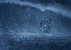 Tsunamigolf en varend schip Stock Fotografie
