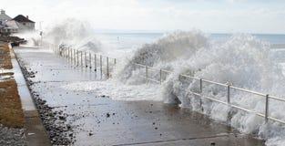 Vinkar av havet bevattnar tsunami arkivbild
