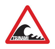 Tsunami Warning Sign. As seen on beaches in tsunami-prone regions around the world. Available in RGB and also in CMYK vector formats Stock Photography