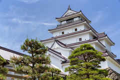 Tsurugajo, castelo japonês em Aizu Wakamatsu Fukushima, Japão Imagens de Stock