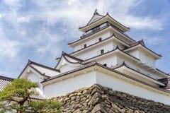 Tsurugajo, castelo japonês em Aizu Wakamatsu Fukushima, Japão Imagens de Stock Royalty Free