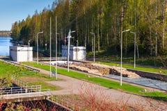Tsvetochnoye lock with cargo ship, Saimaa Canal Royalty Free Stock Photo