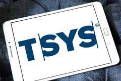 TSYS payment company logo. Logo of TSYS payment company on samsung tablet. TSYS is a United States credit card processor, merchant acquirer and bank credit card Royalty Free Stock Photography