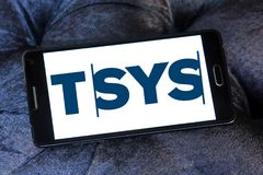 TSYS payment company logo. Logo of TSYS payment company on samsung mobile. TSYS is a United States credit card processor, merchant acquirer and bank credit card Royalty Free Stock Images