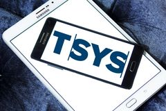 TSYS payment company logo. Logo of TSYS payment company on samsung mobile. TSYS is a United States credit card processor, merchant acquirer and bank credit card Stock Photos