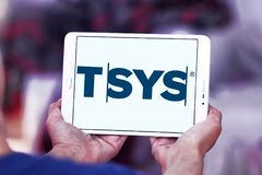 TSYS payment company logo. Logo of TSYS payment company on samsung tablet. TSYS is a United States credit card processor, merchant acquirer and bank credit card Stock Photography