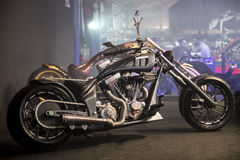 TT Custom Choppers Grand Sport motorcycle on display at Eurasia motobike expo, CNR Expo. Royalty Free Stock Photo