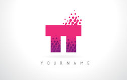 TT T Letter Logo with Pink Purple Color and Particles Dots Desig Royalty Free Stock Image