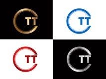 Tt-Textgoldschwarze silberne moderne kreative Alphabetbuchstabelogoentwurfs-Vektorikone vektor abbildung