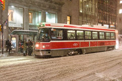 TTC streetcar during a snowfall in Toronto Royalty Free Stock Photo