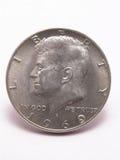 Tête argentée de demi-dollar de Kennedy Images libres de droits