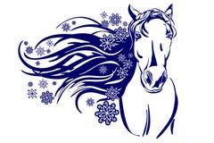 Tête d'illustration de vecteur de bande dessinée de cheval Images libres de droits