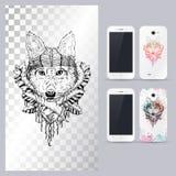 Tête de chien animale noire et blanche Illustration de vecteur pour le cas de téléphone Photographie stock