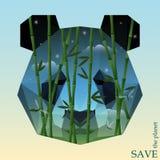Tête de panda avec le bambou sur le fond de ciel nocturne illustration onceptual sur le thème de la protection de la nature et de Photos stock