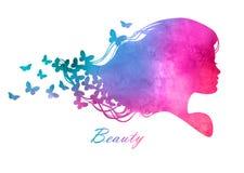 Tête de silhouette avec des cheveux d'aquarelle Images stock