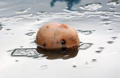 Tête effrayante de poupée sur une eau glacée, horreur Images stock